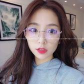 現貨-韓版ulzzang時尚百搭平光鏡新款時尚圓框眼鏡架百搭金屬框架眼鏡配近視眼鏡框超輕男女同款