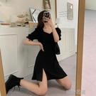 快速出貨 長裙設計感小眾開叉年女夏收腰顯瘦法式顯高黑色洋裝子長裙
