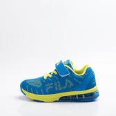 FILA  兒童 氣墊 慢跑鞋-藍/綠 3-J807R-366