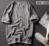 潮牌寬鬆純棉短袖t恤男裝半袖打底衫情侶體恤假兩件上衣    蜜拉貝爾