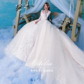 法式婚紗禮服2019新款冬季新娘結婚一字肩拖尾女長袖主白色網紅款