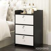 現代簡約實木簡易床頭迷你收納儲物櫃LVV4273【KIKIKOKO】TW