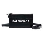 【台中米蘭站】全新品 BALENCIAGA 印字Logo鱷魚紋卡片夾(594548-黑)