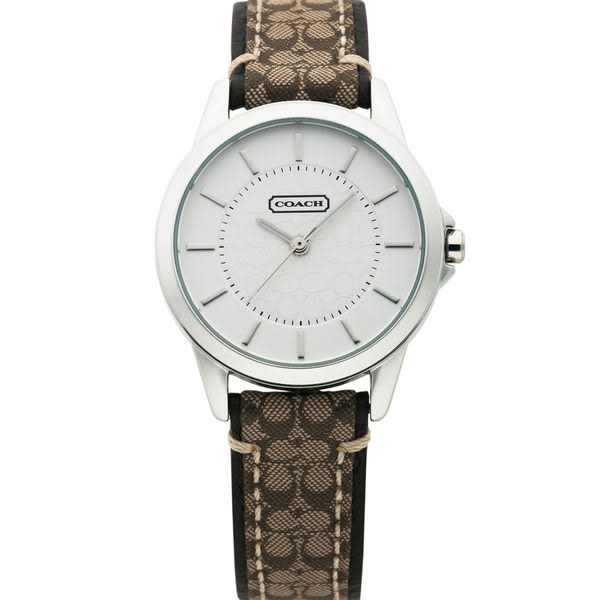 COACH 優雅簡約經典LOGO皮帶腕錶/31mm-咖啡 (14501525)