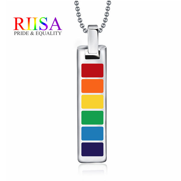 RIISA堅定信念LGBT彩虹鈦鋼驕傲項鍊