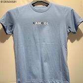 KANGOL 兒童藍底 白藍色LOGO休閒短袖上衣 6126500581