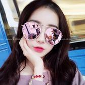 現貨-韓國粉色太陽眼鏡水銀鏡面 反光墨鏡 彩膜個性圓臉遮陽墨鏡韓版復古太陽鏡女大框顯瘦潮