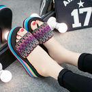 拖鞋 一字帶涼拖 鬆糕坡跟厚底防滑沙灘鞋...