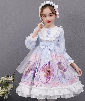 女童洋裝 兒童洛麗塔 洋裝正版裙秋裝蘿莉塔女童連衣裙洋氣裙子公主裙【快速出貨八折搶購】