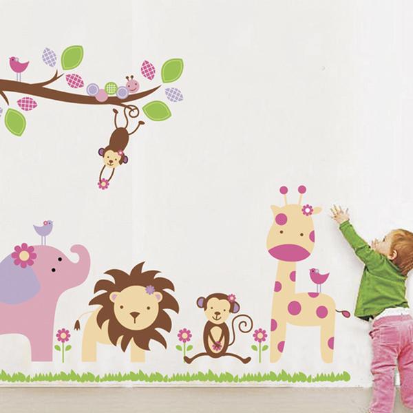 壁貼 兒童房 店面 佈置 卡通 DIY 牆貼 組合貼 可愛動物