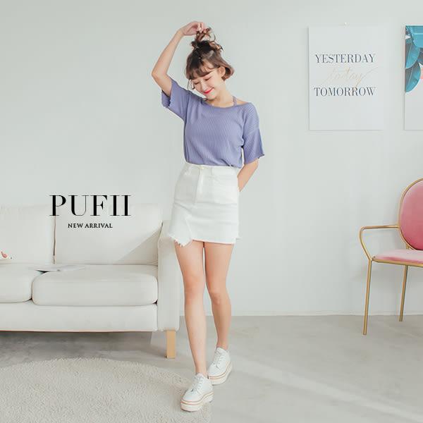(現貨)PUFII-針織上衣 簡約直坑條肩帶交叉短袖針織上衣 2色-0628 現+預 夏【CP14895】