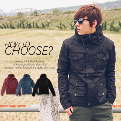 【N8379J】 韓系窄版身型多口袋硬挺抽繩大高領外套(Gar9107)