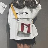 韓版簡約帆布手提包百搭寬帶側背斜背包 黛尼時尚精品