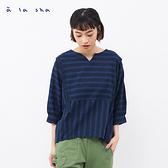 a la sha+a 設計感提織條紋上衣