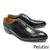 【Pelutini】橫飾U型鞋翼牛津鞋 經典黑(9126-BL)