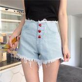 夏季新款韓版高腰百搭愛心紐扣毛邊牛仔短褲闊腿褲女學生熱褲子潮 森活雜貨