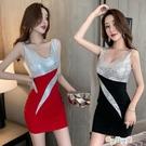 洋裝禮服赫本風氣質宴會洋裝小禮服裙性感低胸V領亮片連衣裙女快速出貨