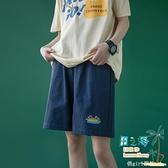 休閒短褲 短褲女夏寬鬆運動休閒高腰外穿薄款顯瘦闊腿直筒五分褲子【風之海】
