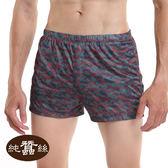 【岱妮蠶絲】男款中腰蠶絲平口褲(幾何紅)