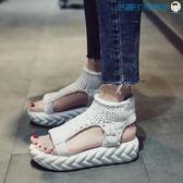 【618好康又一發】涼鞋女厚底鬆糕鞋韓版露趾羅馬鞋
