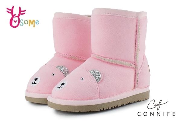 CONNIFE 雪靴 兒童靴 中小童 慵懶熊先生 日韓系 N8041#粉紅◆OSOME奧森童鞋