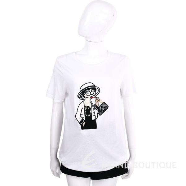 EDWARD ACHOUR PARIS 白色刺繡貴婦圖騰短袖T恤 1620355-20