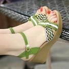 楔形鞋 足意爾康2021新款涼鞋女夏坡跟真皮高跟厚底坡跟鬆糕草編百搭女鞋 韓國時尚 618