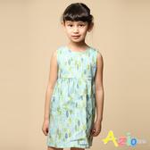Azio 女童 洋裝 滿版葉子背部拉鍊洋裝(綠) Azio Kids 美國派 童裝