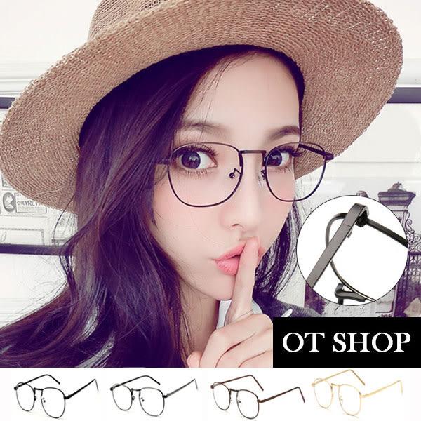 OT SHOP眼鏡框‧俏皮圓框造型金屬圓框復古款文青平光眼鏡‧鼻墊加高‧四色‧現貨‧N21