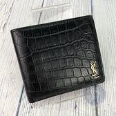 BRAND楓月 Saint Laurent YSL 聖羅蘭 607727 黑色 鱷魚壓紋 金LOGO 二折 短夾 皮夾