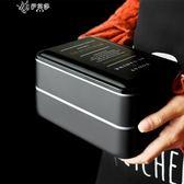 日式便當盒雙層上班飯盒微波爐學生午餐盒壽司盒健身盒含筷勺      伊芙莎