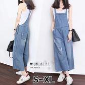 【QV2501】魔衣子-寬鬆顯瘦闊腿九分吊帶褲