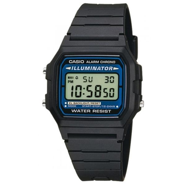 【CASIO】 方型電子潮流錶-黑X藍框(F-105W-1A)