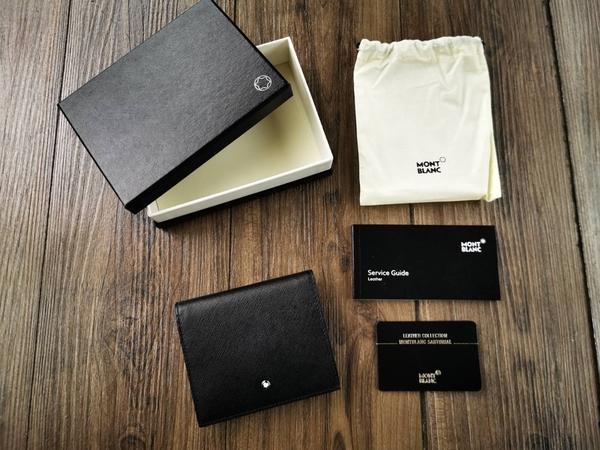 英國代購 現貨 MONTBLANC 萬寶龍 黑色 十字紋3卡零錢包短夾- 116386