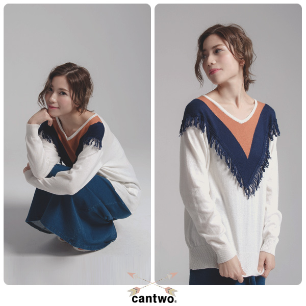 cantwo波波流蘇針織毛衣(共二色)~針織均一價990