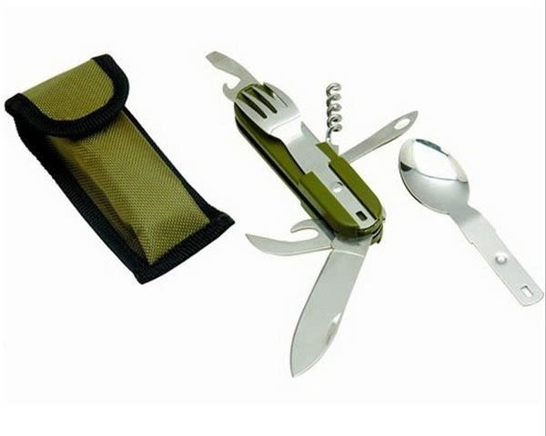 7合1餐具組 多功能摺疊刀 摺疊湯匙 摺疊叉子 七合一餐具組合