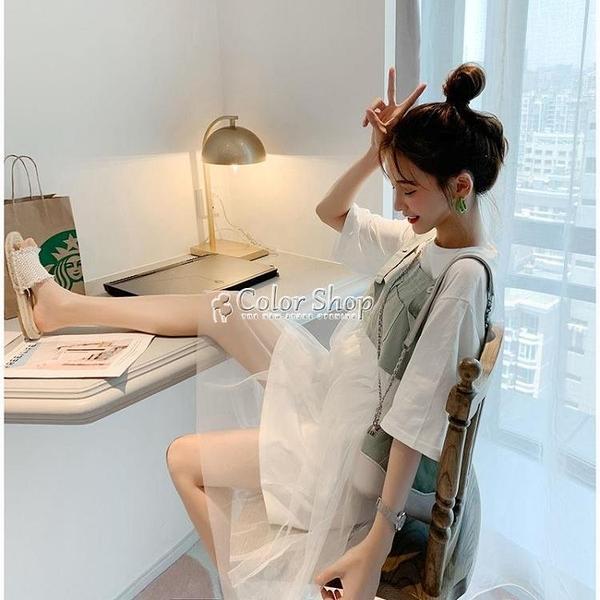 洋裝女學生夏新款韓版寬鬆顯瘦小清新套裝網紅兩件套裙子 快速出貨