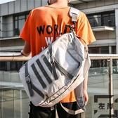 休閒後背包男大容量帆布書包女韓版旅行背包【左岸男裝】
