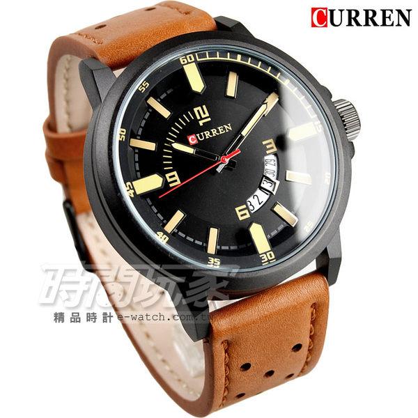 CURREN 扇形日期視窗 時尚潮流皮革腕錶 男錶 學生錶 數字錶 大錶盤 飛行錶 卡瑞恩 咖啡x黑 CU8228咖