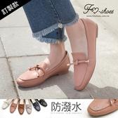 樂福.防潑水朵結樂福鞋(杏、灰、粉)-大尺碼-FM時尚美鞋-訂製款.Spring