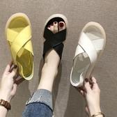 夏季溫柔仙女風交叉平底涼鞋女
