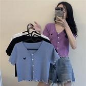 針織上衣紫色蝴蝶高腰上衣短袖2020夏季新款女修身短款針織外搭開衫薄款 JUST M