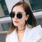新款復古圓形墨鏡女士潮款太子鏡圓框偏光太陽眼鏡女個性時尚 zm4524『男人範』