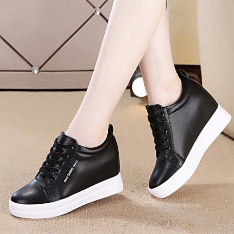 2020春秋季新款韓版休閒女鞋子厚底坡跟運動小白鞋女學生內增高「時尚彩紅屋」