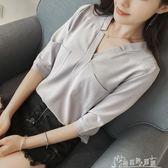 夏裝雪紡衫韓版v領氣質百搭襯衫女顯瘦七分袖上衣 奇思妙想屋