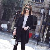 女款小西裝外套中長款韓版新款春秋裝女士休閒寬鬆黑色西服 草莓妞妞