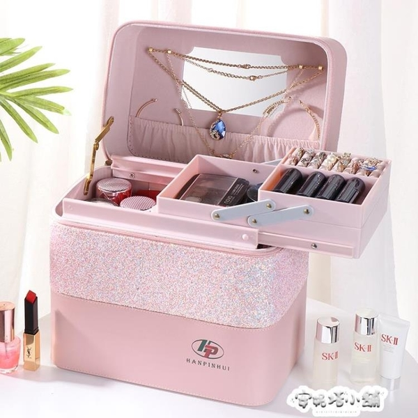 新款拼色大容量化妝包女便攜簡約化妝品首飾多層收納盒網紅箱手提 夏季特惠