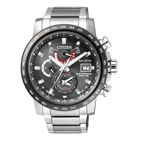 CITIZEN GENTS 光動能電波時計腕錶/黑/AT9071-58E