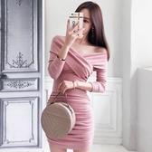 初秋季新款女裝時尚氣質v領長袖修身顯瘦包臀緊身性感連身裙 韓國時尚週