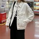 牛仔外套女 白色牛仔外套女短款寬鬆韓版2...